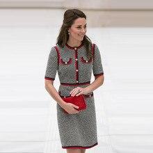 d4f660ecda Kate Middleton Tweed kobiety sukienka Vestidos grube nici Houndstooth  Patchwork suknie wokół szyi sukienka z krótkim rękawem Sli.