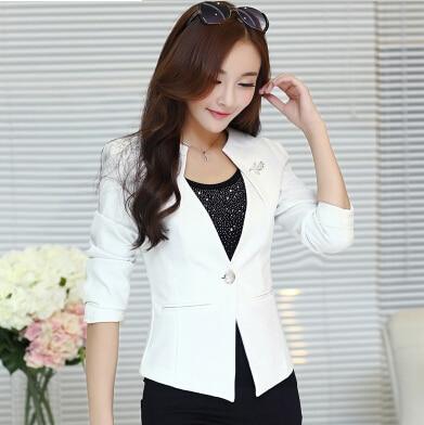 7de0de8159ca € 16.97 |2015 Women Slim Blazer Coat spring and autumn female Casual Jacket  outerwear One Button Suit White Ladies Blazers plus size en chaqueta de ...