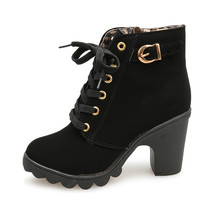 Women's Boots New Fashion High Heel Lace Up Ankle Boots Ladies Buckle Platform Motorcycle Ankle Boot Chaussures femme 2018(China)