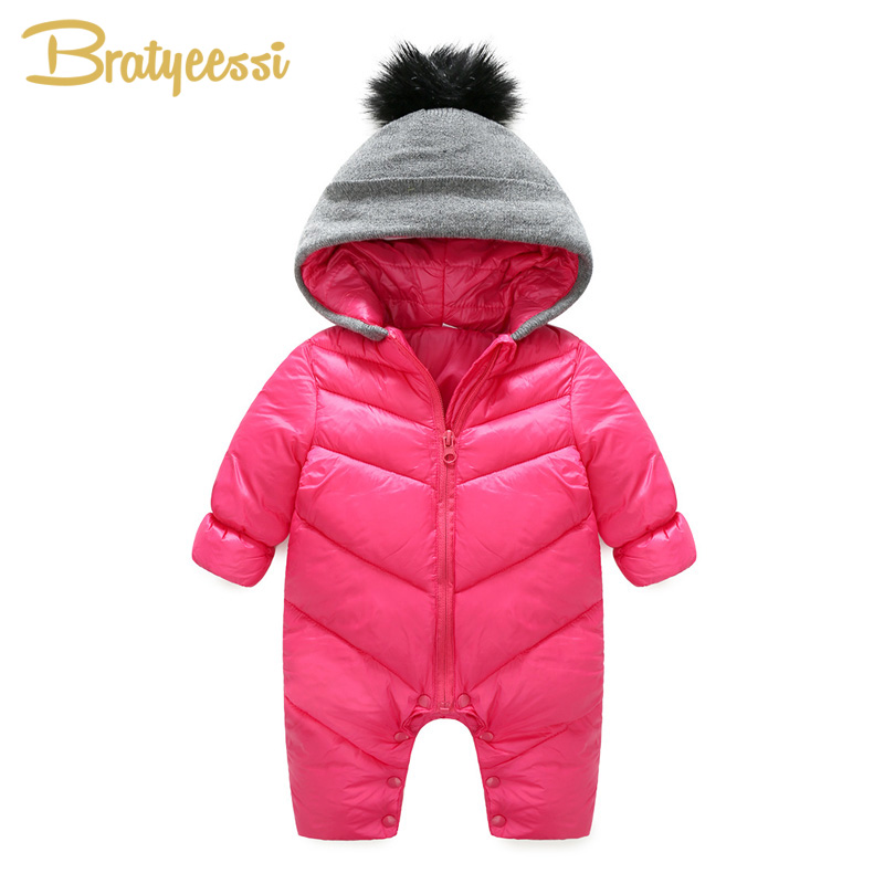 fbd4b7aa9 Fashion Baby Jumpsuit for Boys Girls Snowsuit Knitted Hooded Winter ...