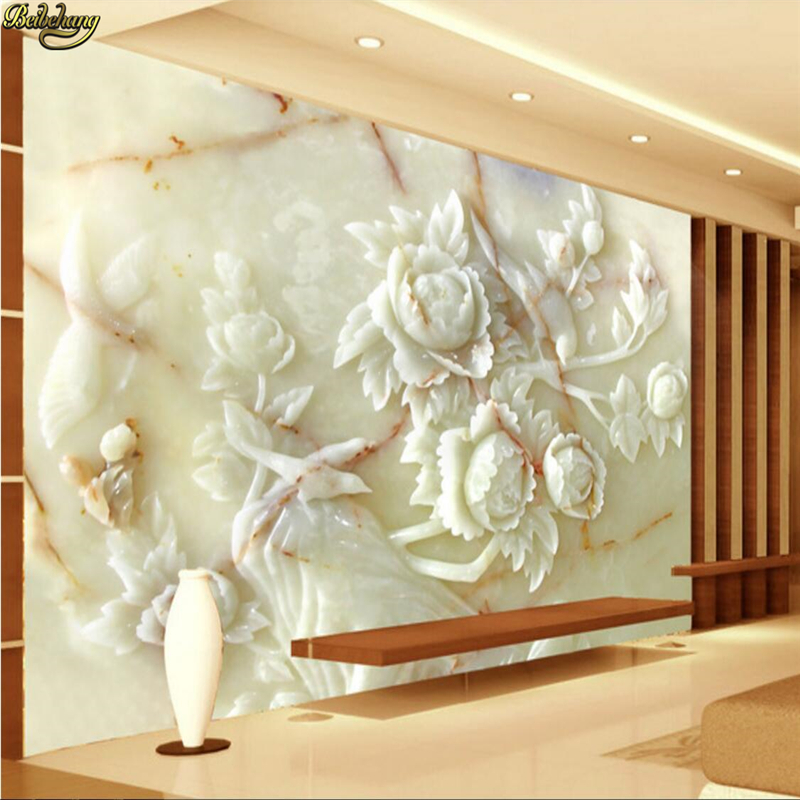 beibehang Custom Photo Wallpaper Mural Upscale Fashion Home and Rich Jade Peony Flower TV Wall papel de parede 3d Wall paper