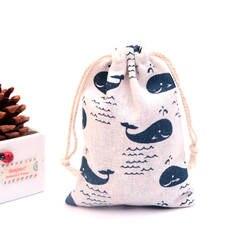 10 шт./лот синий кит Дизайн хлопок сумки 9x12 см кулиска Мешочек льняной мешочек маленький ювелирные украшения упаковки мешки