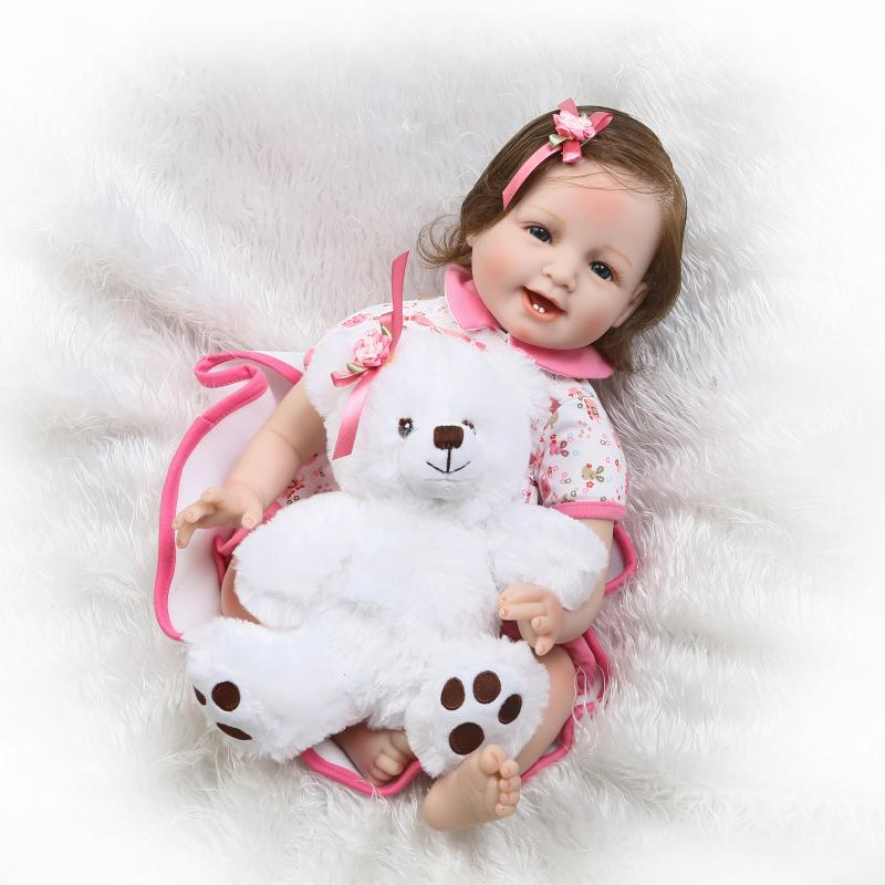 New Arrival 55cm Smiling Baby Girl Doll 22 Blue Eyes Reborn in Beautiful Dress Toy Birthday Gifts new arrival 55cm blue eyes pink clothes lifelike baby soft girl doll with free plush toy as kids xmas gifts birthday doll toys