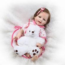 """Ny Ankomst 55cm Leende Baby Girl Doll 22 """"Blå ögon Bebe Reborn Girl Doll i vacker klänning Doll Girls Toy Födelsedagspresenter"""