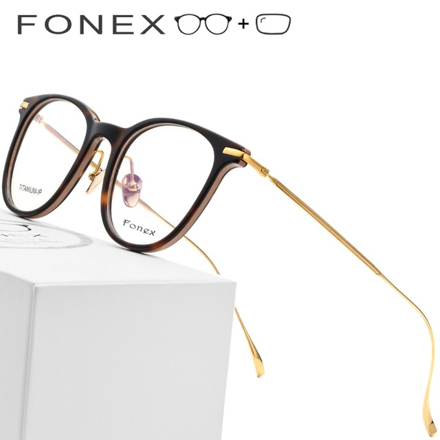 35e0990e27e B Pure Titanium Prescription Glasses Frame Men Ultralight Acetate Women  2019 Vintage Round Myopia Optical Eyeglasses Eye Eyewear