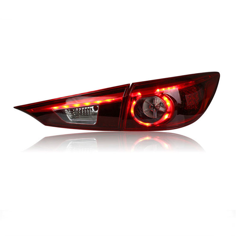 Ownsun 2 pieces Rear L/R DRL Rear Trunk Signal+Brake+Reverse LED Taillights For Mazda Axela