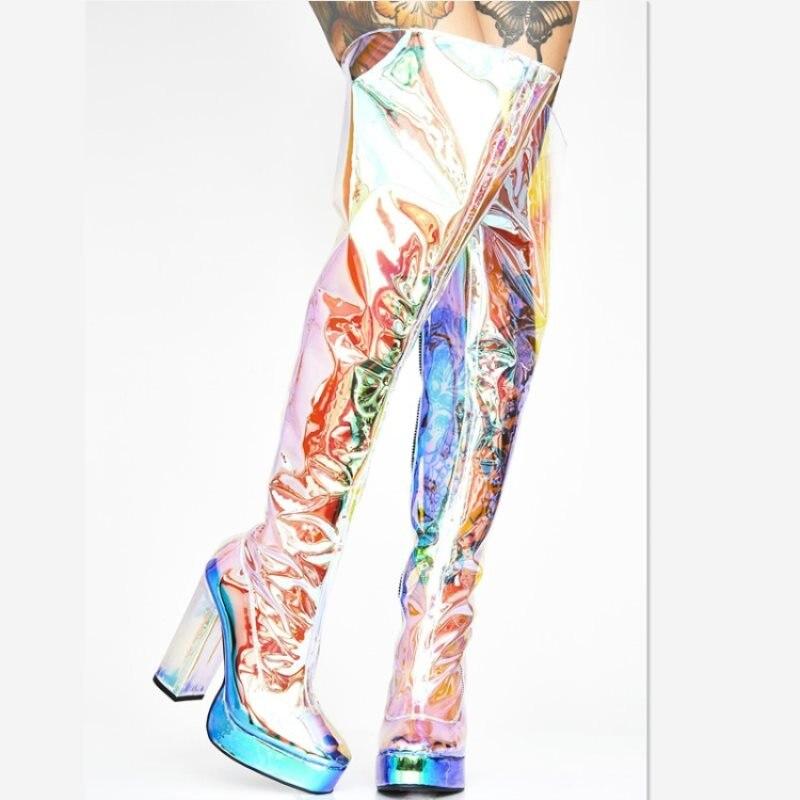 Le Neige D'hiver Plate Sexy Automne forme Genou Bling W003132g De Chaussures Mode Bottes Camouflage Plus Femmes Multi Femme Pour Haute 74qwX5P