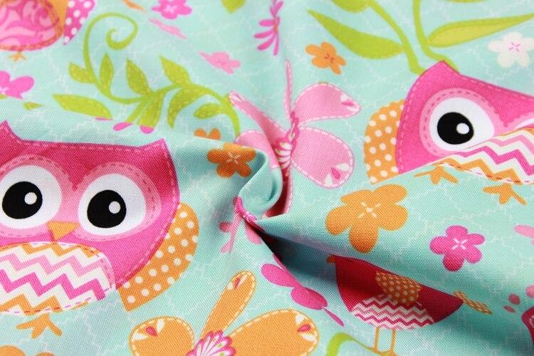half meter plain cartoon owl little bird print fabric handmade DIY garment dress children cloth 100 cotton B51 in Fabric from Home Garden