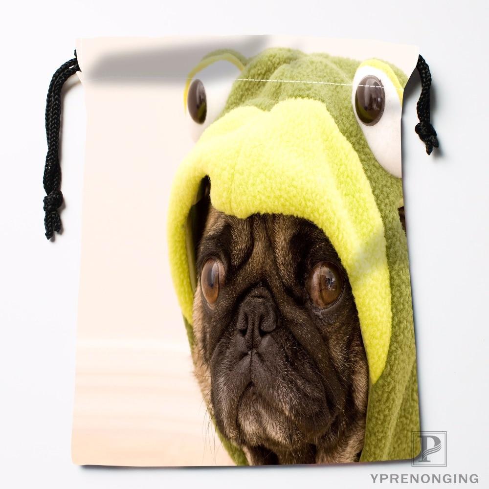 Custom Pug Funny Pugs Drawstring Bags Travel Storage Mini Pouch Swim Hiking Toy Bag Size 18x22cm