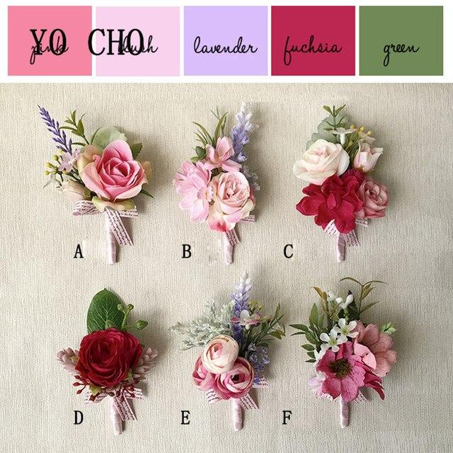 Yo Cho Wedding Flower Diy Goom Boutonniere Onholes Bride Wrist Corsage Bracelet Hand Man Suit