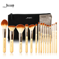 Jessup Brand 15pcs Beauty Bamboo Professional Makeup Brushes Set T140  & Cosmetics Bags Women Bag CB002