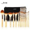 Jessup marca 15 pcs beleza de bambu pincéis de maquiagem profissional definida t140 & sacos cosméticos mulheres saco cb002