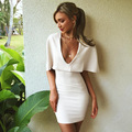 2016 Spring and Summer Solid White Deep V-neck Sexy Nightclub Dress Fashion Cloak Collar Hip Package Slim Dress Free Shipping