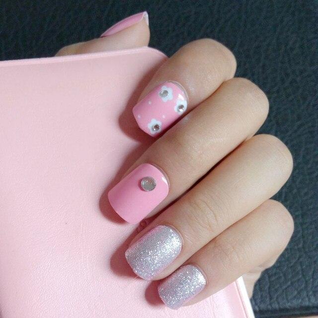 Glitter Silver Fake Nails Light Pink Flat False Small White Flowers Rhinestones Diy Nail Art