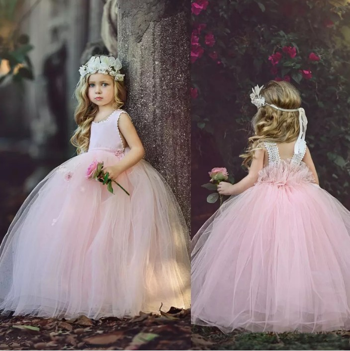 Pink 2018   Flower     Girl     Dresses   For Weddings Ball Gown princess Baby Kids Tulle Lace Long First Communion   Dresses   For Little   Girls