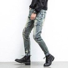 Herren jeans männer retro old patch low-grade micro-kreuz young herren hosen Japanischen beine pluderhosen