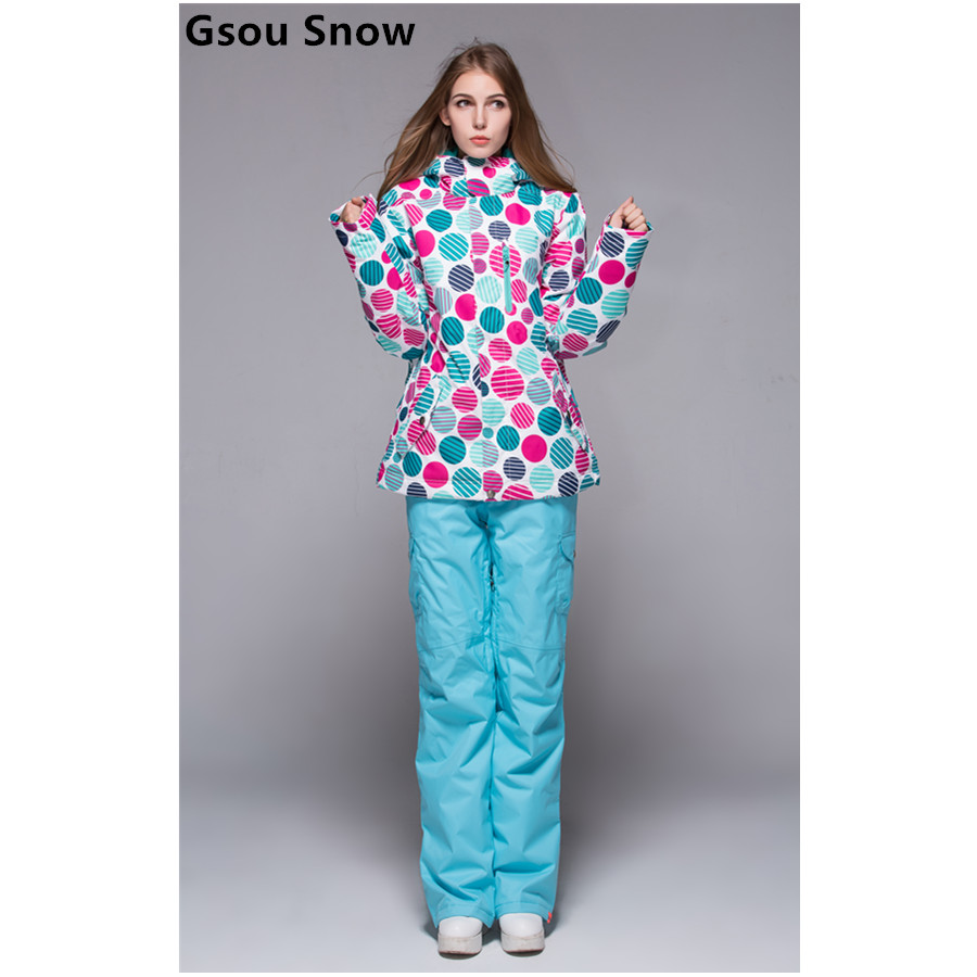 Gsou snow womens ski suit female skiing set snowboarding suit multicolour circles jacket and blue pants winter outdoor skiwear gsou snow brand ski suit women skiing jacket snowboarding pants winter waterproof snow ski clothing outdoor female sports coat