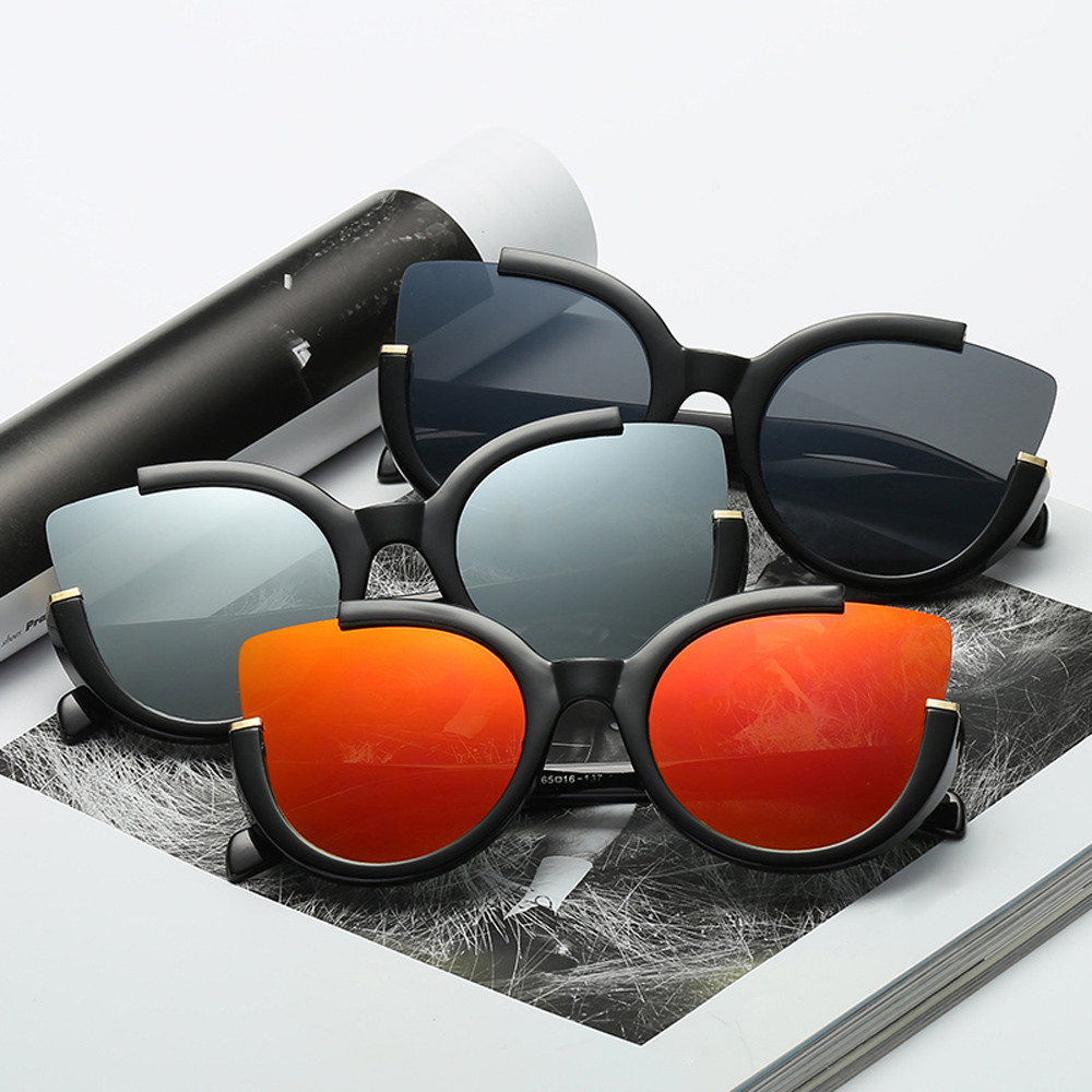 Fashion Cat Eye Sunglasses Women Brand Designer Alloy+Resin Reflective Mirror Sun Glasses Aviator Mirror Lens Sunglasses 307