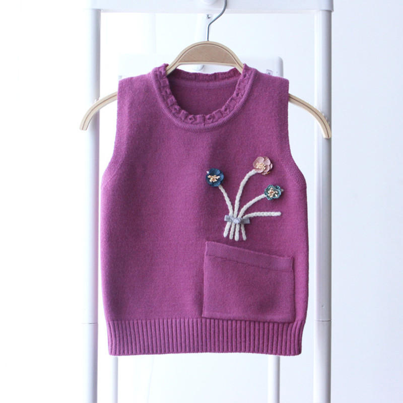 Flowers Pockets Patchwork Baby Girls Sweaters Cotton Knitted Vest ...