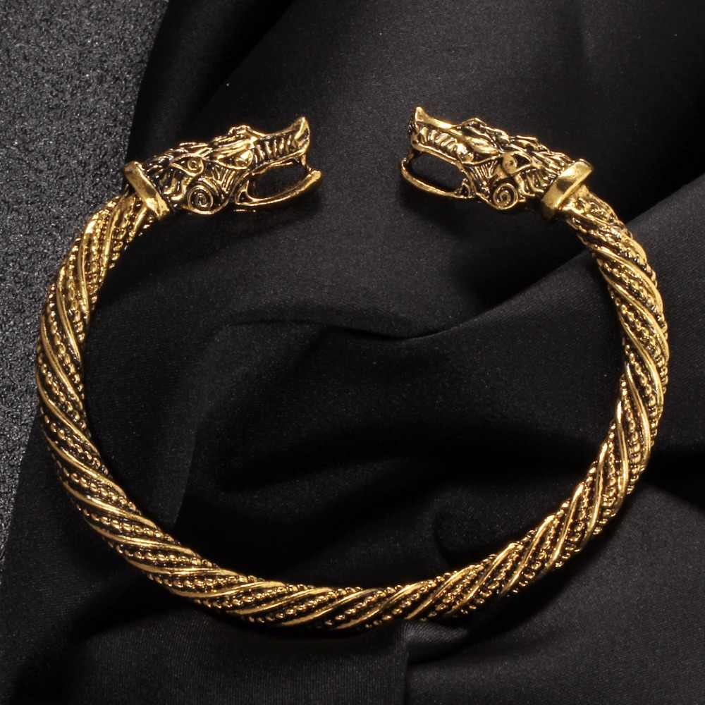 Antique Gold Wolf Head Cuff Bangles