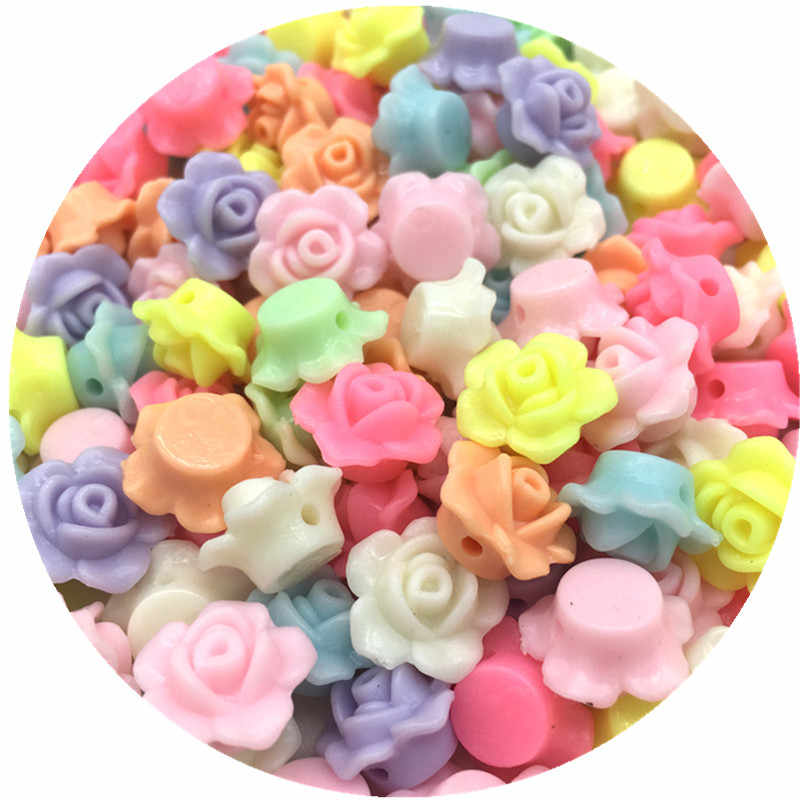 13x13mm 50pcs Cheap MIX Colors Lovely Flower Shape Acrylic beads flatback Cabochon Scrapbooking Craft DIY jewelry Accessories
