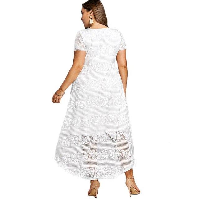 d84e2ea200e9f Plus Size XL 5XL Summer Midi Dress Women Short Sleeves White Color V-Neck  Semi Formal Lace Party Dress Big Size Vestidos