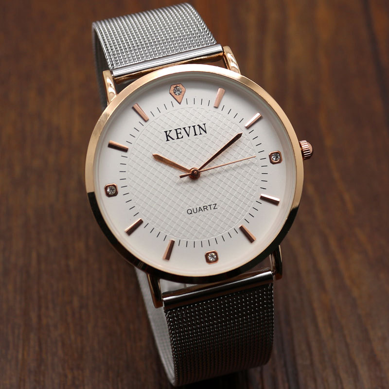 Relogio Kevin Simple style Elegant Mesh Stainless Steel Band Quartz Wrist Watch Men Watches Men's Male Clock Hours Gift W090201 цена