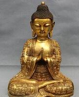 """006784 17 """"Tibet Volks Bronzevergoldung Buddhismus Ritt Amitabha Joss Shakyamuni Buddha Statue-in Statuen & Skulpturen aus Heim und Garten bei"""
