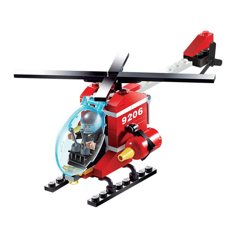 GUDI Api Penyelamatan Helikopter / truk Partikel Kecil Blok Bangunan Educatio al Mainan Model Kostum kit Hadiah 9206
