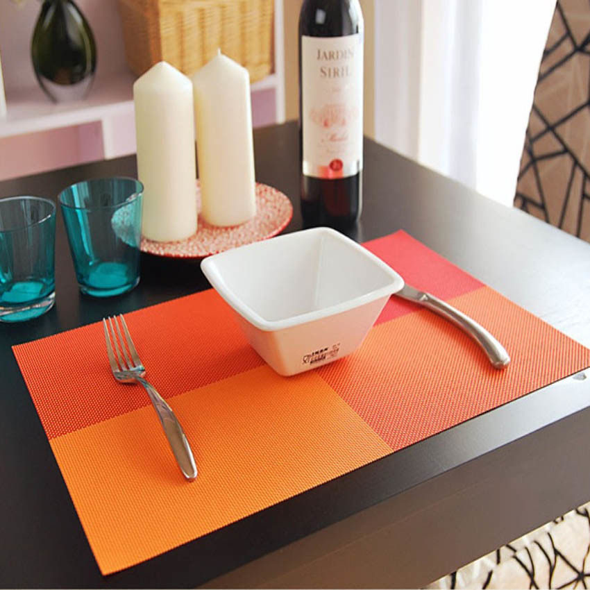 4 Pcs/set Placemats PVC Table Mat Color Block Dining Disc Pads Coasters Mantel Napperon 30*45cm Plate Bar Tapete de lugar ...
