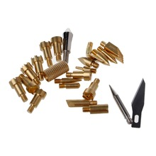 22 Pcs Wood Burning Pen Tips Stencil Soldering Iron Pyrography Working Carving knife tips 1 set pyrography wood working and soldering tips alphabet numbers symbols stencils tool parts accesspries supplies