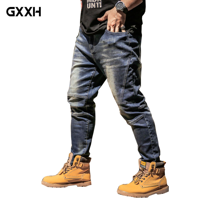 Mens Jeans Business Casual Loose Summer Straight Blue Jeans Stretch Jeans Classic Jeans Trousers Fashion Large Size 42 44 46 48