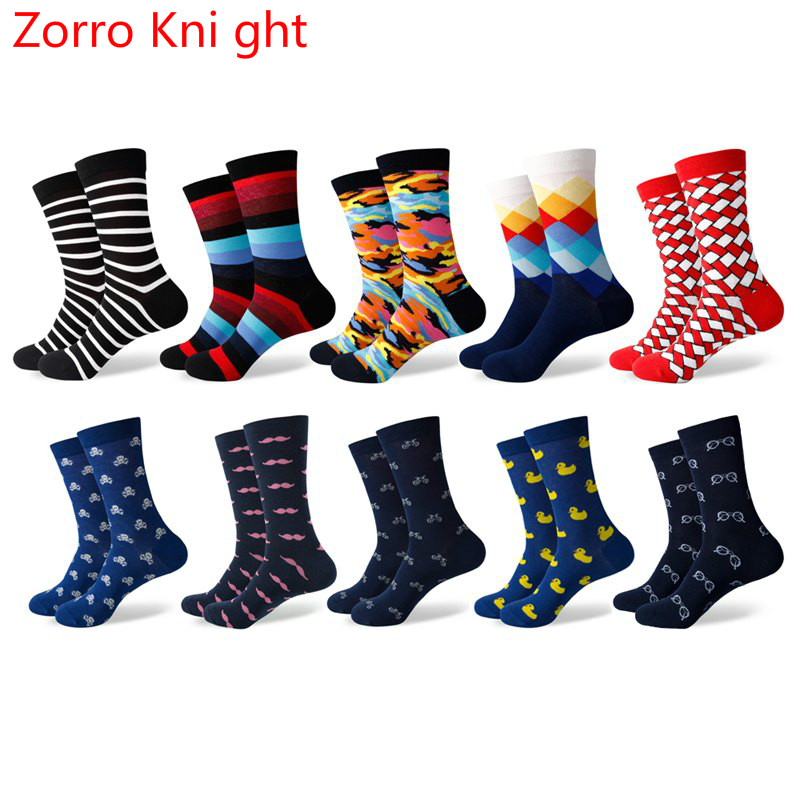 [Zorro Kni ght] Brand 2018 Mens Casual Socks Funny Color Combing Cotton Couples Socks Free Combination 10 Pairs