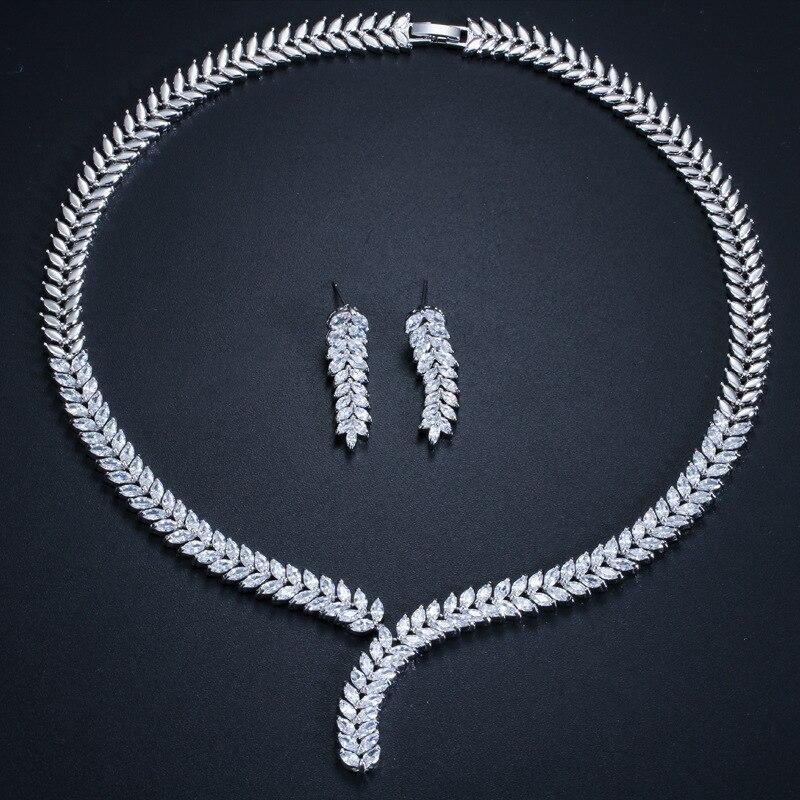 Multi-couleur blanc Zircon cuivre plaqué or blanc oreille bijoux ensemble boucle d'oreille collier pendentif M02-T0108