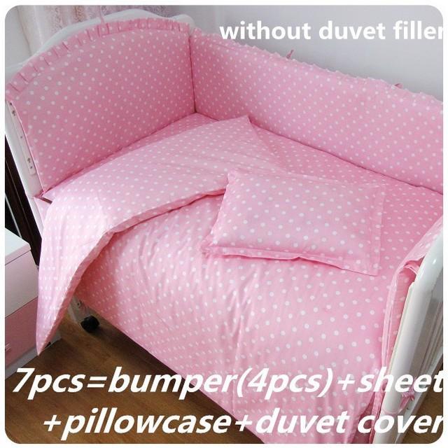 Promoción! 6 / 7 unids rosa 100% algodón cuna juego de cama / parachoques / pesebre / volante de polvo cuna ropa de cama conjunto determinado del bebé, 120 * 60 / 120 * 70 cm