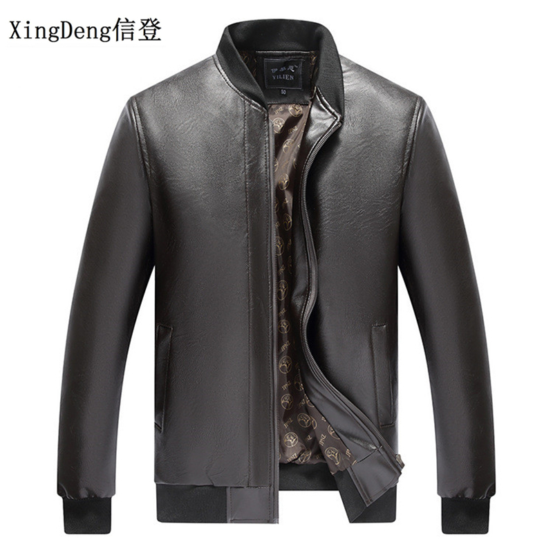 XingDeng Men Casual Fashion warm PU leather Jacket zipper business Men's Brand-Clothing Jackets Male top Coats plus size 3XL