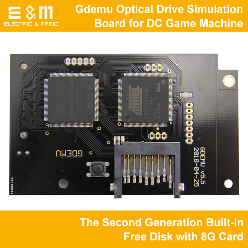 Full New Gdemu Optical Drive Simulation Board for DC Game Machine The Second Generation Built-in Free Disk with 8G Card