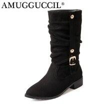 Новинка 2017 года большие Размеры 28-52 черный бежевый винно-красный коричневый синий модная обувь с пряжкой осень-зима леди женские Для женщин сапоги и ботинки для девочек X1676