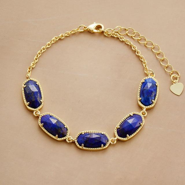 Chain Link Bracelet Lapis...