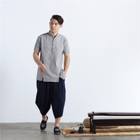 LZJN 2017 Summer Tops Ethnic Mens Shirts Short Sleeve Flax Blusas Men Linen Shirt Single Breasted