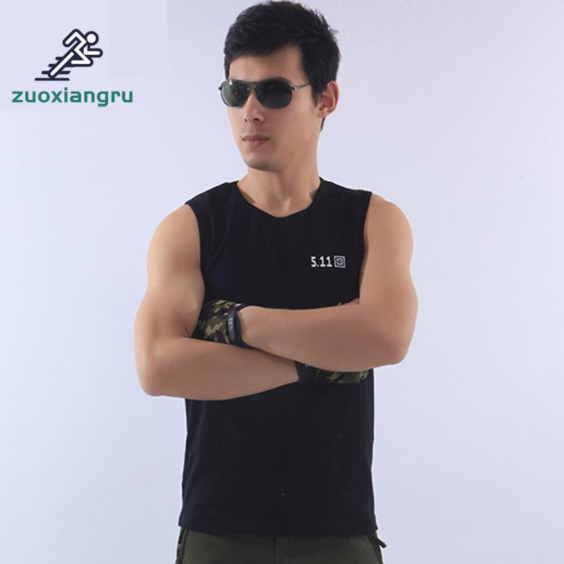 Zuoxiangru Men's Cotton Circular Neck Version Gyms  Army Military Fans T-shirt Men Camouflage Tactical Vest Hiking T-shirt