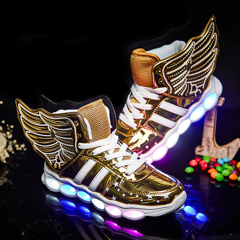 Black Children Shoes Light Led luminous Shoes Boys Girls USB Charging Sport Shoes Casual Led Shoes Wing Kids Glowing Sneakers