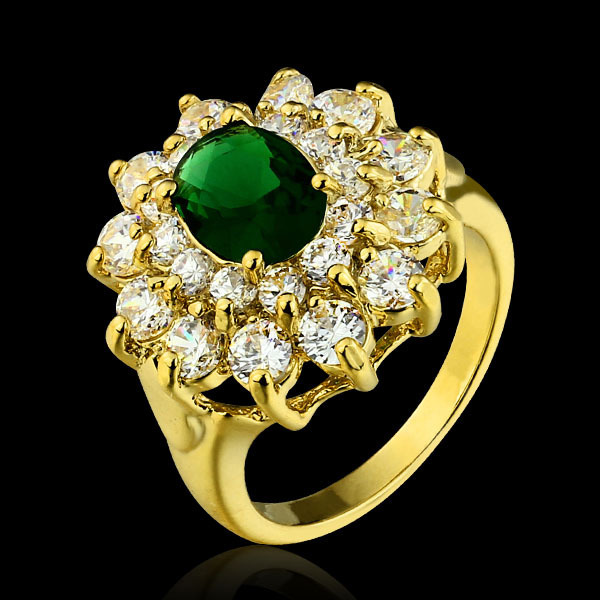 Princess Diana Style Engagement Rings 18K Gold Plate Emerald Green