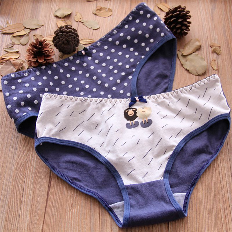 Girls Cute Printed Intimate Briefs Women   Panties   Sexy Cotton Underwear Lady Breathable Underpants