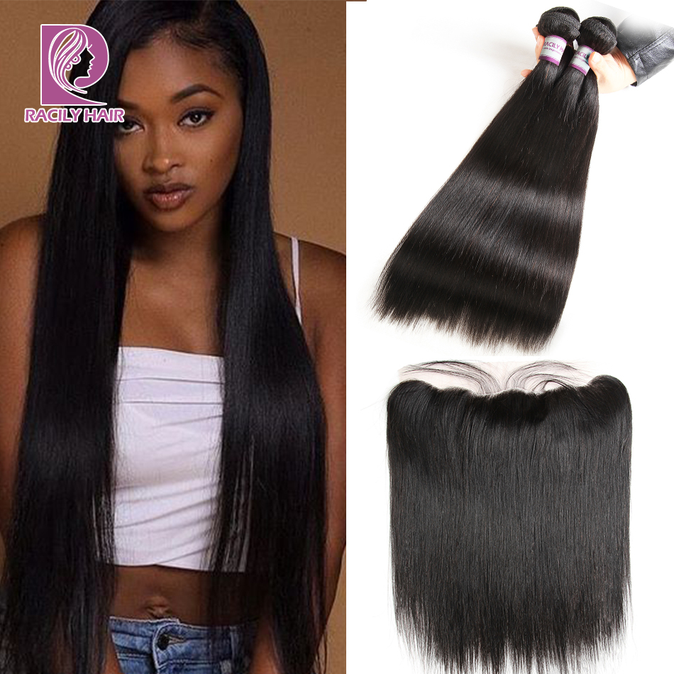 Racily Hair Brazilian Straight Hair Bundles With Frontal 13x4 Ear To Ear Lace Frontal Closure With