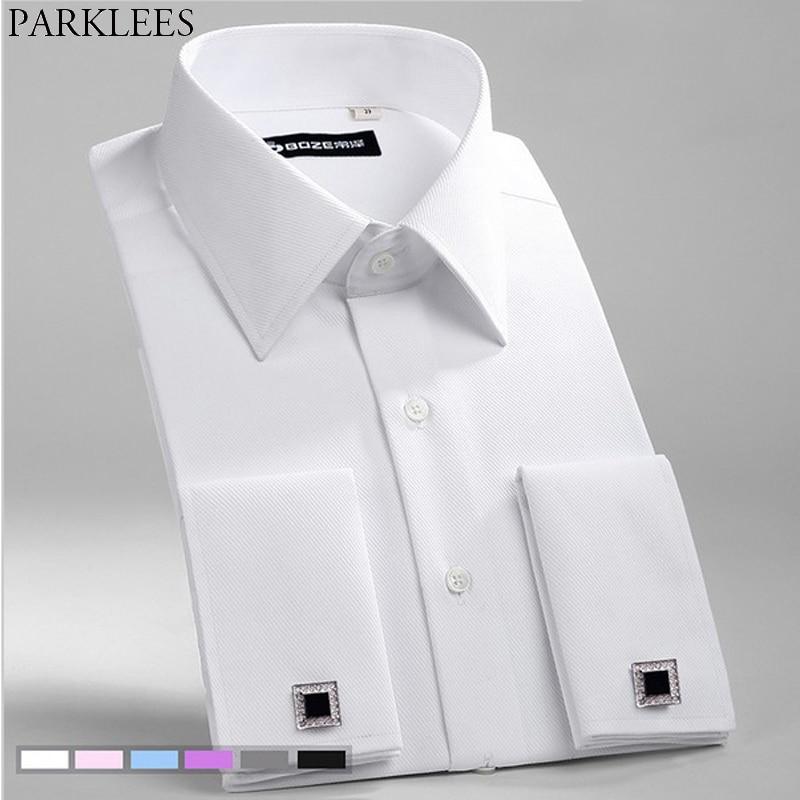 Weiß Hochzeit Kleid Shirt Männer Französisch Manschettenknopf Twill Streifen Langarm Tuxedo Shirts Business Casual Slim Fit Reine Camisa Top 8X