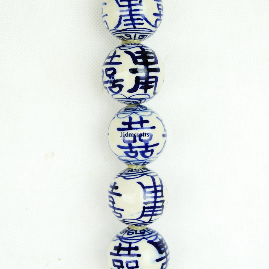 retro home chinese asian blue and white porcelain art bead pen brush