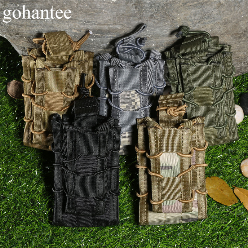 gohantee MOLLE Military Bag Tactical Magazine Pouch Stacker Double Open Top Mag Pouch Holster Hunting Flashlights Pistol 5colors ultimate arms gear dark earth tan tactical scenario military hunting assault vest w right handed quick draw pistol holster and heavy duty mag pouch belt od olive drab green 2 5 liter 84 oz replacement hydration backpack water bladder reservoir in