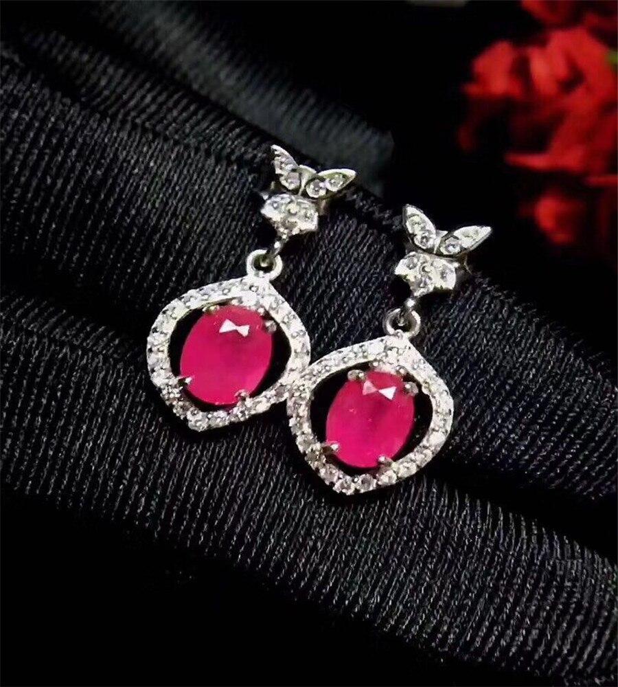 Boucles d'oreilles en rubis rouge naturel, boucles d'oreilles en pierre gemme naturelle, petites boucles d'oreilles en argent pour fille 925, bijoux cadeaux - 2