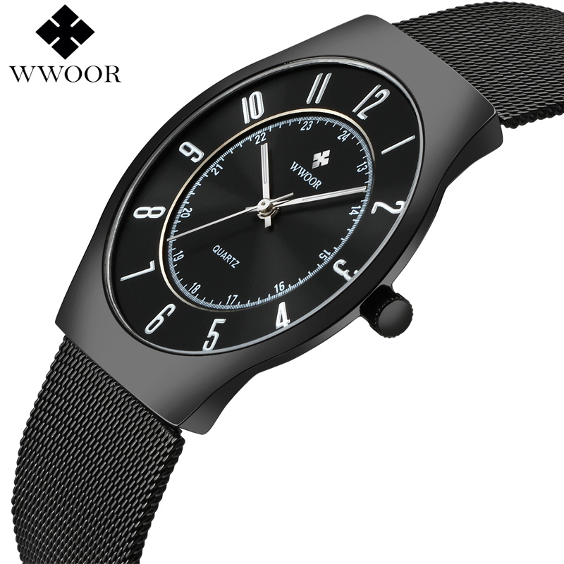 2017 WWOOR Top Brand Luxury Men Ultra Thin Waterproof Sports Watches Men's Quartz Wrist Watch Male Black Clock relogio masculino men watches top brand luxury waterproof ultra thin date black clock male steel strap casual quartz watch men sports wrist watch
